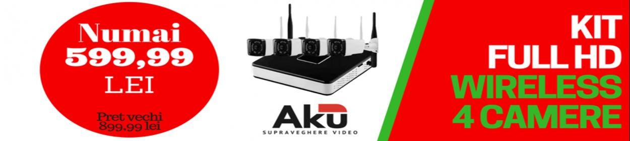 Kit supraveghere AKU 4 camere exterior Wireless 1.3MPxl