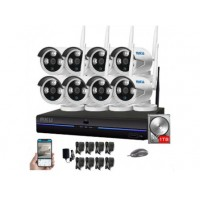 Kit wireless 8 camere IP + HDD 1TB, NVR 8 canale 720P audio video H264