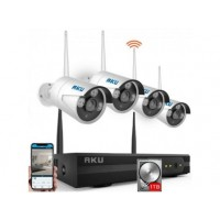 Kit wireless 4 camere IP + HDD 1TB, NVR 4 canale 720P audio video H264