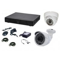 Kit supraveghere video AKU 2 camere interior/exterior 2.0MPxl + DVR 4 canale H264 rezolutie AHD-H