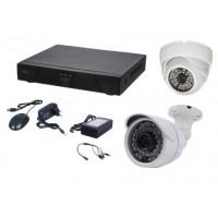 Kit de video supraveghere Aku 2 camere interior/exterior 1MPxl + DVR 4 canale H264 rezolutie AHD-M