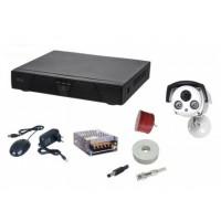 Kit sistem supraveghere AKU 1 camera GIGANT interior/exterior 800TVL/DVR 4 canale + cabluri