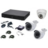 Kit supraveghere video Aku 3 camere interior/exterior 1MPxl + DVR 4 canale AHD-M + cabluri