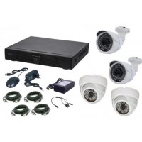 Kit supraveghere video AKU 4 camere interior/exterior 4.0MPxl / DVR H264 AHD 4 canale + cablu