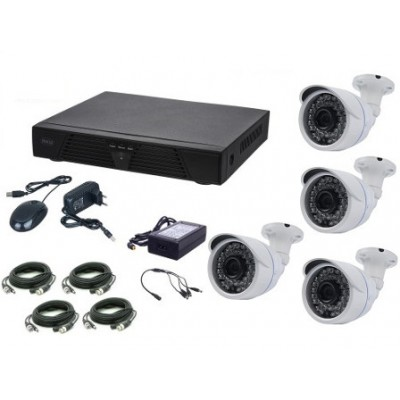 Kit supraveghere video AKU 4 camere exterior 2.0MPxl + DVR 4 canale H264 rezolutie Full HD