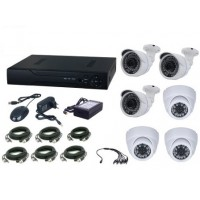 Kit supraveghere video Aku 6 camere interior/exterior 4.0MPxl / DVR H264 AHD 4 canale + cablu