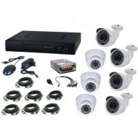 Kit sistem supraveghere complet AKU 7 camere interior/exterior 1200TVL /DVR 8 canale + cabluri