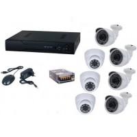 Kit sistem supraveghere AKU 7 camere interior/exterior 1MPxl IP digitale/NVR 8 canale