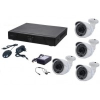 Kit supraveghere 4 camere Aku interior/exterior 1MPxl + DVR 4 canale H264 rezolutie AHD-M