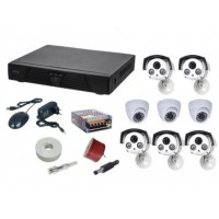Kit sistem supraveghere AKU 8 camere interior + exterior 800TVL/DVR 8 canale + cabluri