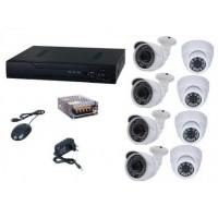 Kit sistem supraveghere AKU 8 camere interior/exterior 1MPxl IP digitale/NVR 8 canale