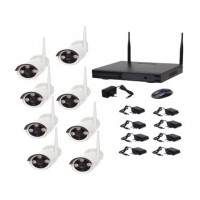 Kit supraveghere Full HD Wireless WiFi AKU 8 camere ARRAY exterior 1.3MPxl IP + NVR 8 canale