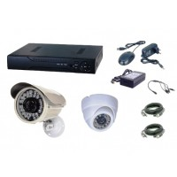 Kit  supraveghere AKU 2 camere interior/exterior Gigant 1.3MPxl / DVR H264 AHD 4 canale + cablu