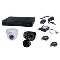 Kit supraveghere video Aku 2 camere interior/exterior 1.3MPxl + DVR 4 canale H264 rezolutie AHD-M