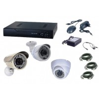 Kit  supraveghere AKU 3 camere interior/exterior Gigant 1.3MPxl / DVR H264 AHD 4 canale + cablu