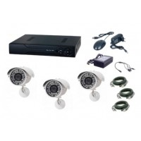 Kit sistem supraveghere AKU 3 camere exterior Gigant 1.3MPxl / DVR H264 AHD 4 canale + cablu