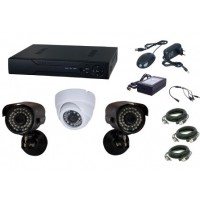Kit supraveghere video Aku 3 camere interior/exterior 1.3MPxl + DVR 4 canale H264 rezolutie AHD-M