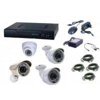 Kit sistem supraveghere AKU 4 camere interior/exterior Gigant 1200TVL/DVR 4 canale H264 + cablu