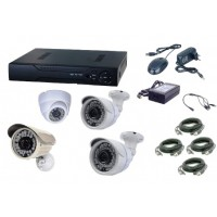 Kit AKU 4 camere interior/exterior Gigant 1.3MPxl / DVR H264 AHD 4 canale + cablu