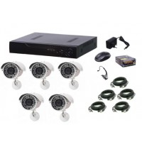 Kit sistem supraveghere AKU 5 camere exterior Gigant 1.3MPxl / DVR H264 AHD 8 canale + cablu