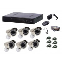 Kit sistem supraveghere AKU 6 camere exterior Gigant 1.3MPxl / DVR H264 AHD 8 canale + cablu
