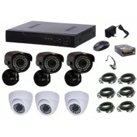 Kit supraveghere video Aku 6 camere interior/exterior 1.3MPxl + DVR 8 canale AHD-M + cablu