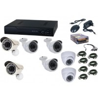 Kit sistem supraveghere AKU 7 camere interior/exterior Gigant 1.3MPxl / DVR H264 AHD 8 canale + cablu