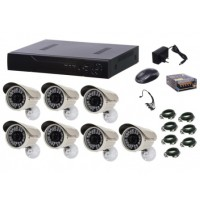 Kit sistem supraveghere AKU 7 camere exterior Gigant 1.3MPxl / DVR H264 AHD 8 canale + cablu