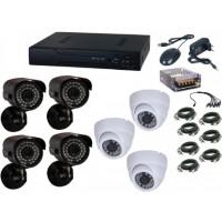 Kit supraveghere video Aku 7 camere interior/exterior 1.3MPxl + DVR 8 canale H264 rezolutie HD + cablu