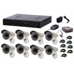 Kit sistem supraveghere AKU 8 camere exterior Gigant 1.3MPxl / DVR H264 AHD 8 canale + cablu