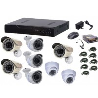 Kit sistem supraveghere AKU 8 camere interior/exterior Gigant 1.3MPxl / DVR H264 AHD 8 canale + cablu