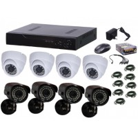 Kit supraveghere video Aku 8 camere interior/exterior 1.3MPxl + DVR 8 canale H264 rezolutie HD + cabluri