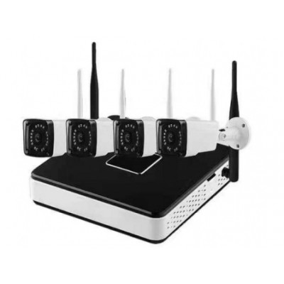 Kit sistem supraveghere AKU 4 camere exterior Wireless 1.3MPxl IP /NVR 4 canale
