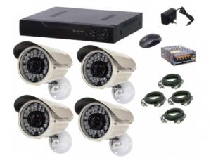 Kit sistem supraveghere AKU 4 camere exterior Gigant 1.3MPxl / DVR H264 AHD 4 canale + cablu