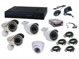 Kit sistem supraveghere AKU 5 camere interior/exterior Gigant 1.3MPxl / DVR H264 AHD 8 canale + cablu
