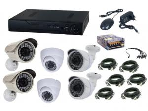 Kit sistem supraveghere AKU 6 camere interior/exterior Gigant 1.3MPxl / DVR H264 AHD 8 canale + cablu