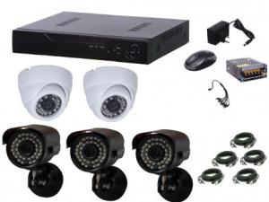 Kit supraveghere video Aku 5 camere interior/exterior 1.3MPxl + DVR 8 canale AHD-M + cablu
