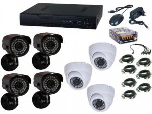 Kit supraveghere video Aku 7 camere interior/exterior 1.3MPxl + DVR 8 canale H264 rezolutie HD + cablu