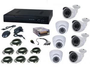 Kit supraveghere video Aku 7 camere interior/exterior 4.0MPxl / DVR H264 AHD 8 canale + cablu