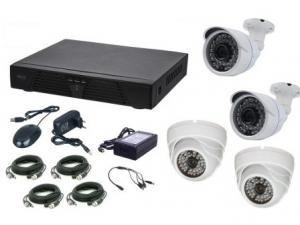Kit supraveghere video Aku 4 camere interior/exterior 1.3MPxl + DVR 4 canale H264 rezolutie AHD-M