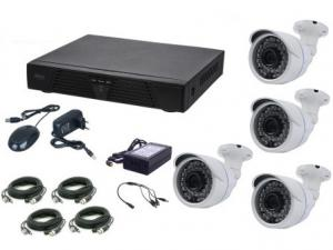 Kit supraveghere video Aku 4 camere interior/exterior 1MPxl + DVR 4 canale AHD-M + cablu