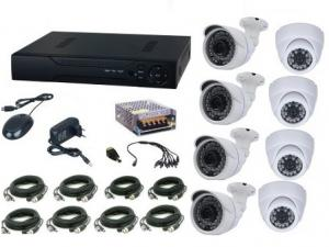 Kit supraveghere video Aku 8 camere interior/exterior 1MPxl + DVR 8 canale H264 rezolutie AHD-M