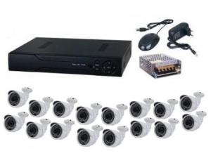 Kit sistem supraveghere complet AKU 16 camere exterior 1.3MPxl /DVR 16 canale AHD-M